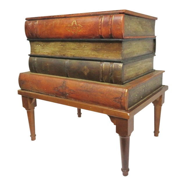 French Style Leather Book Stack Side Table For Sale