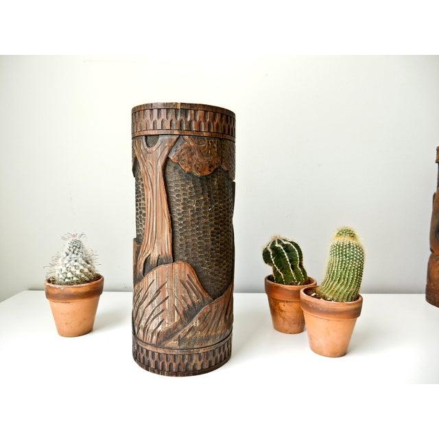 Asian Antique Bamboo Vase, Japanese Brush Holder, Carved Wood Vase, Samurai Warrior For Sale - Image 3 of 8