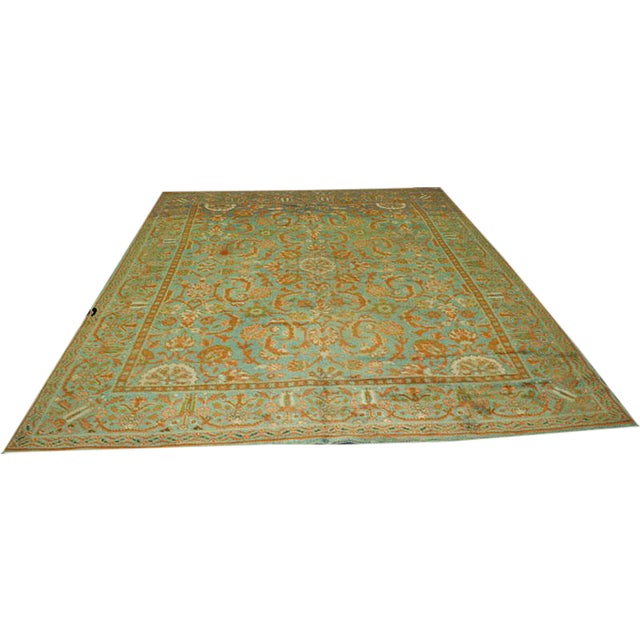 "Antique Donegal Turkish Oushak Rug - 9' X 11'6"" For Sale"