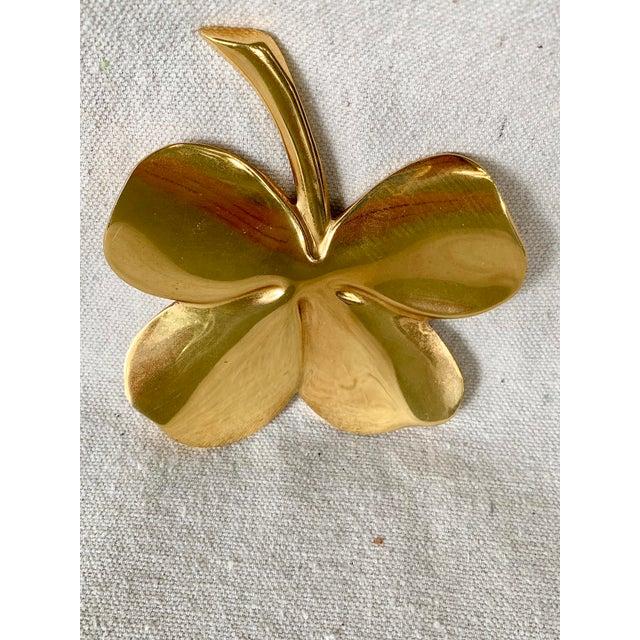 Vintage Gold Four Leaf Clover For Sale - Image 9 of 10