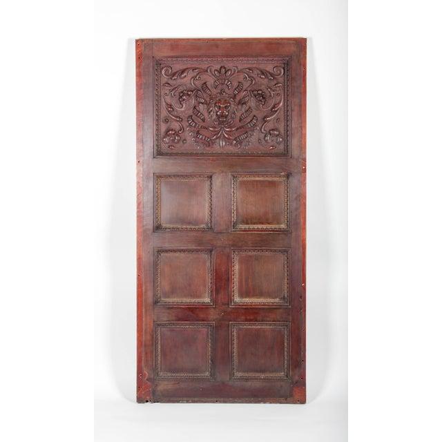 French C. 1880 Vanderbilt Mansion Original Hand-Carved Oak Lion Wall Panel For Sale - Image 3 of 11
