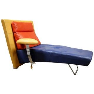 Leather Chaise by Gamma Arredamenti For Sale