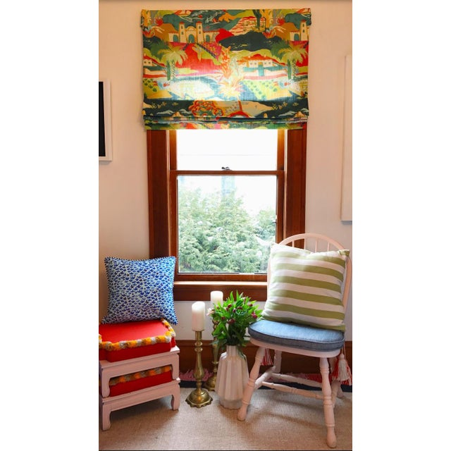 Multicolored Mexican Scene Pattern Roman Shade For Sale - Image 9 of 10