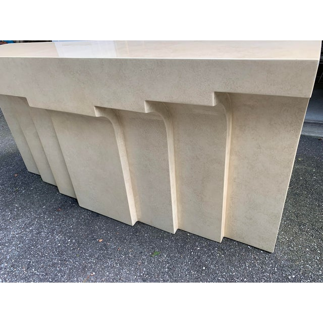 LOVE this console. Faux limestone lacquered finish gives this vintage console a contemporary and distinctly modern feel....