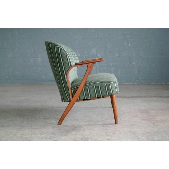 Bramin Møbler Danish Midcentury Sofa with Teak Armrests in the Style of Kurt Olsen for Bramin For Sale - Image 4 of 9