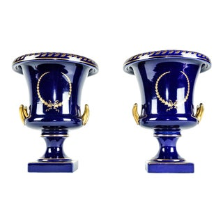 Early 20th Century Cobalt & Gold Urn Vases - a Pair For Sale