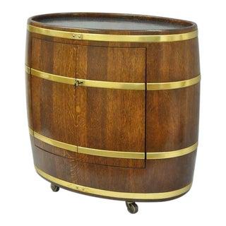 1970s Vintage Custom French Oak & Brass Oval Wine Barrel Bar Cart Cabinet Table For Sale