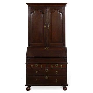 English Queen Anne Style Oak Antique Secretary Desk W/ Bookcase, 18th Century Preview