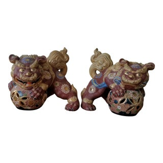 Vintage Japanese Gilt Morage Porcelain Foo Dogs - a Pair