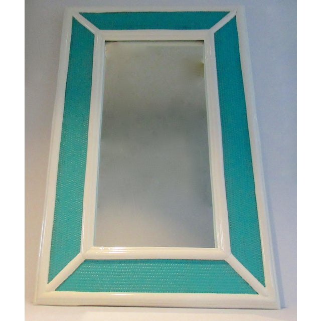 Vintage; C.1960's Palm Beach Style, woven wicker rattan and bamboo-style, high gloss lacquered mirror in a aqua to an...
