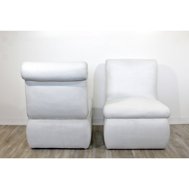 1980s Contemporary Modern White Leather Accent Slipper Side Chairs, 1980s - a Pair For Sale - Image 5 of 10