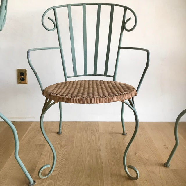 Vintage Verdigris Iron and Woven Rattan Dining or Patio Chairs-Set of Four For Sale - Image 4 of 13