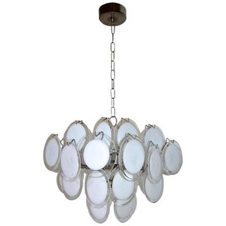 Vistosi Murano Clear and White Disc Chandelier For Sale