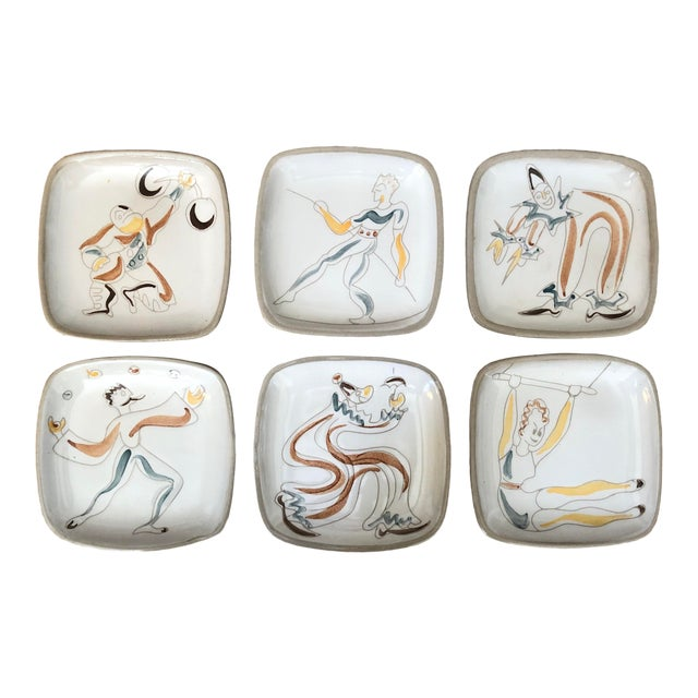 Mid Century Glidden Pottery Circus Plates - Set of 6 For Sale