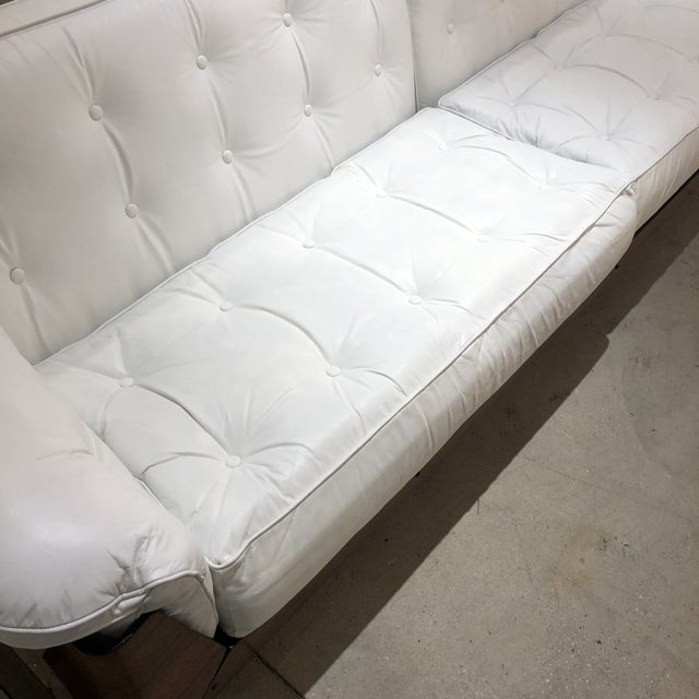 White Brazilian Sofa in Jacaranda and White Leather For Sale - Image 8 of 13