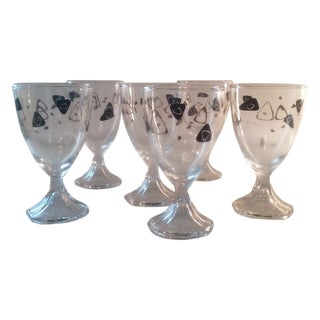 Black & Gold Boomerang Goblets - Set of 6 For Sale