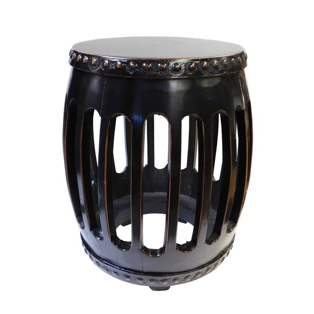 Chinese Black Round Barrel Wood Stool - Image 5 of 7
