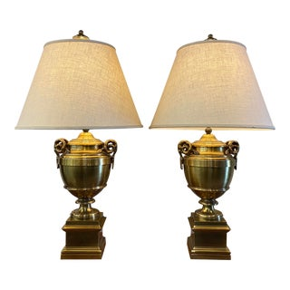 Pair of 1970s Chapman Manufacturing Vintage Brass Lamps For Sale