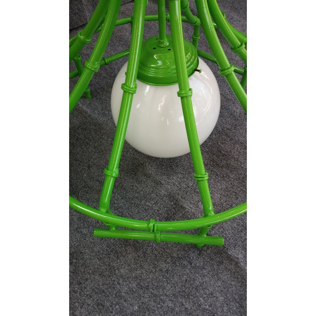 Faux Bamboo Lime Metal Chandelier - Image 3 of 3