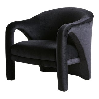 Vladimir Kagan Style Lounge Chair in Black Mohair For Sale