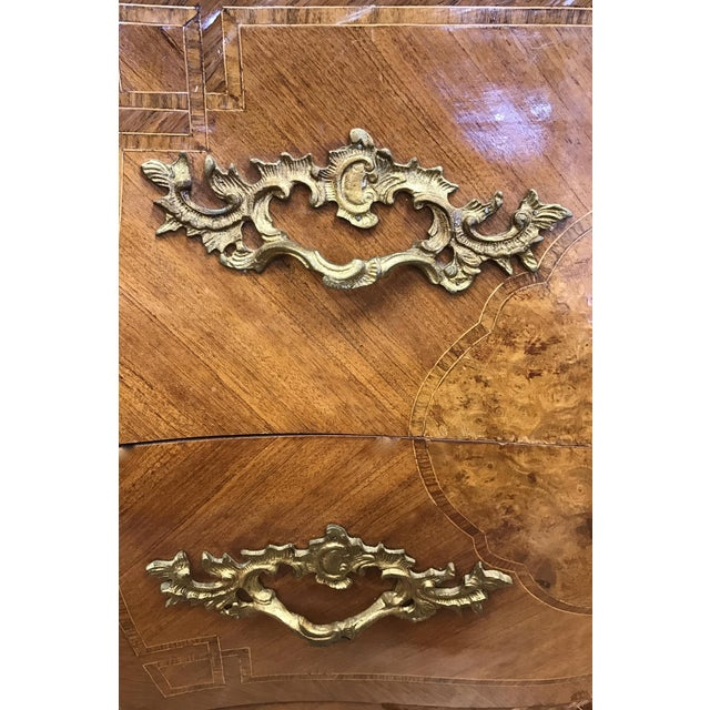 Wood French Louis XV Marquetry Commode For Sale - Image 7 of 8