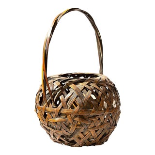 Large Antique Japanese Bamboo Ikebana Flower Basket For Sale