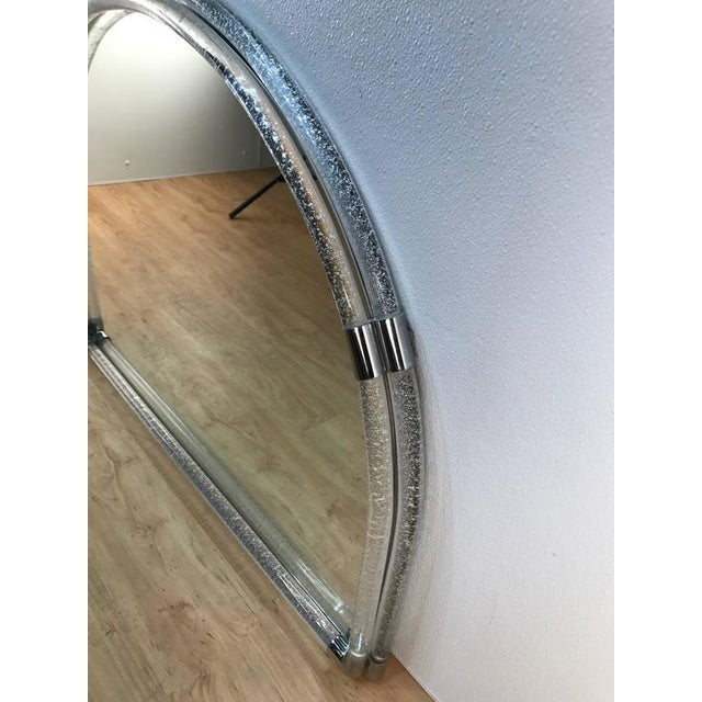 Mid-Century Modern Large Venini Opaque Glass Semi-Circle Wall Mirror For Sale - Image 3 of 5