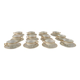 Vintage Luster Hutschenreuther Porcelain/Gilt Rim Coffee Service for 12 - 24 Piece For Sale