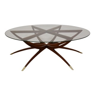 Walnut and Glass Spider Leg Coffee Table For Sale