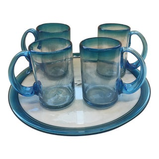 1990s Traditional Aqua Blue-To-Clear Mouth-Blown Mugs and Platter - 5 Piece Set