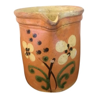 Antique French Country Pottery Pitcher For Sale