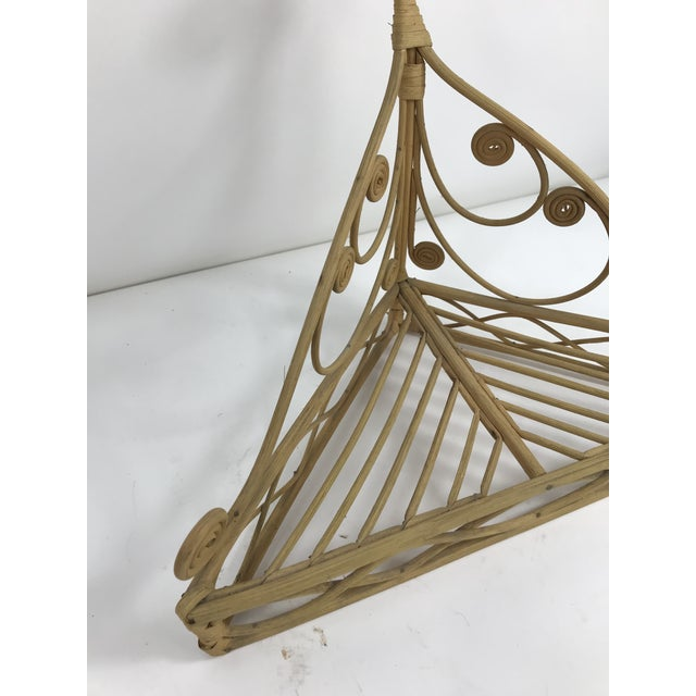 1970's Vintage Curly Wicker Peacock Corner Wall Shelf For Sale - Image 4 of 6