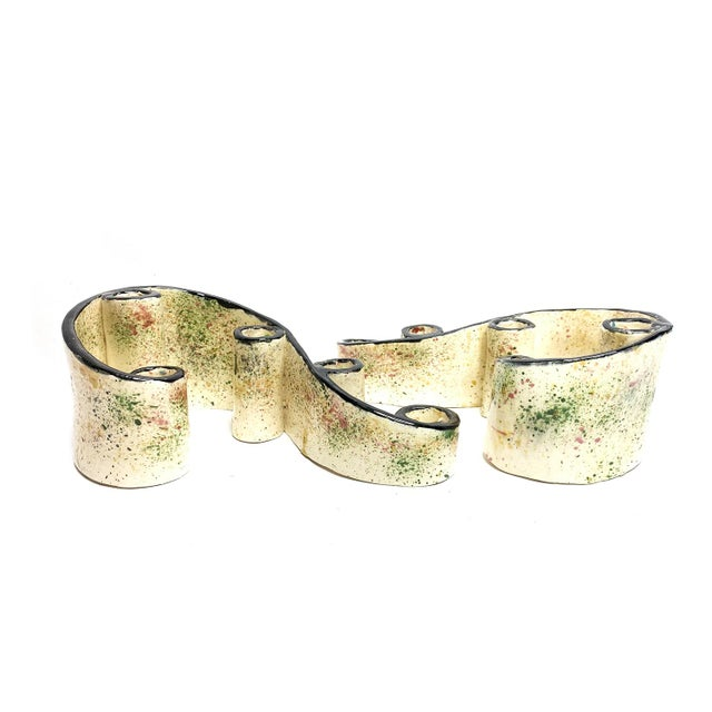 1950s 1950s Hand Made Ceramic Abstract Swirling Candle Holders - a Pair For Sale - Image 5 of 5