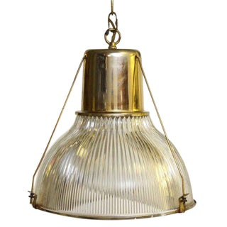 Mid 20th Century Holophane Shade & Brass Light Fixture For Sale
