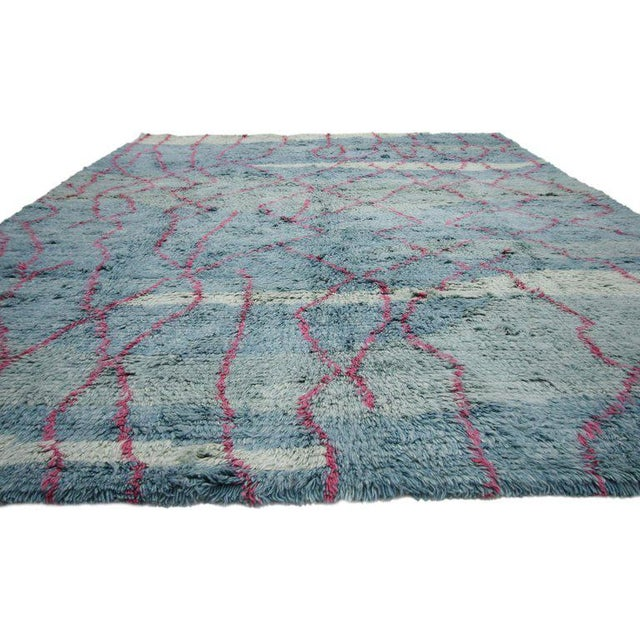 Blue and pink Indian area rug. Playful, pleasant and cozy casual, this new Moroccan style rug with contemporary abstract...