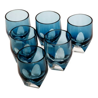 Mid-Century Modern Cubist Czech Moser Style Blue Crystal Shot Glasses — Set of 6 For Sale