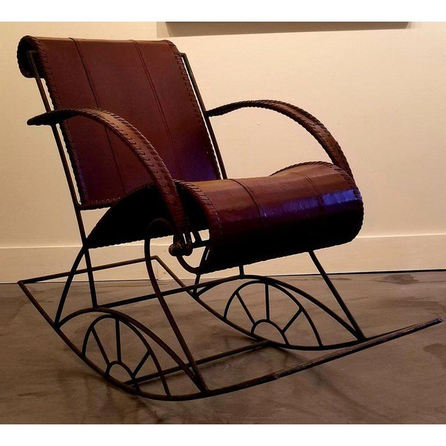 Industrial Industrial Iron and Leather Rocker For Sale - Image 3 of 13