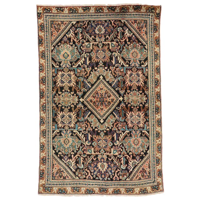 Vintage Mid-Century Persian Mahal Rug - 4′1″ × 6′7″ For Sale
