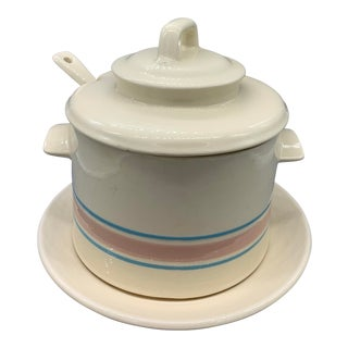 Vintage McCoy Pink and Blue Striped Soup Tureen With Ladle & Underplate For Sale