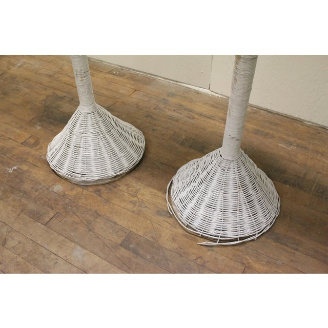 1980s Modern White Wicker Lily-Shaped Tulip Planter Stands - a Pair For Sale - Image 5 of 11