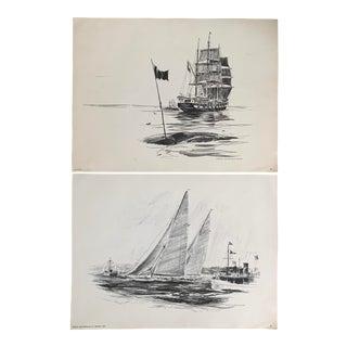 Vintage Mid-Century Seascape Prints - A Pair For Sale