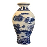 Image of Vintage Chinoiserie Blue and White Ceramic Vase For Sale