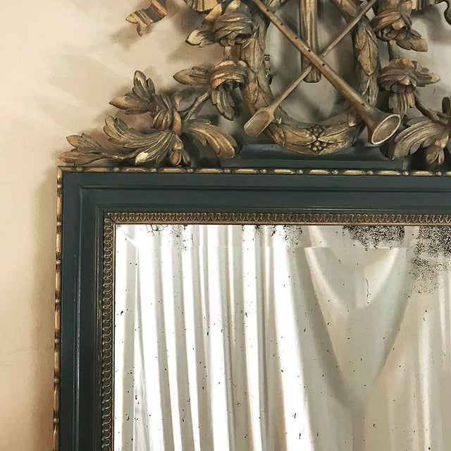 19th Century Italian Carved Wood Painted Marble Top Console With Mirror For Sale - Image 12 of 13