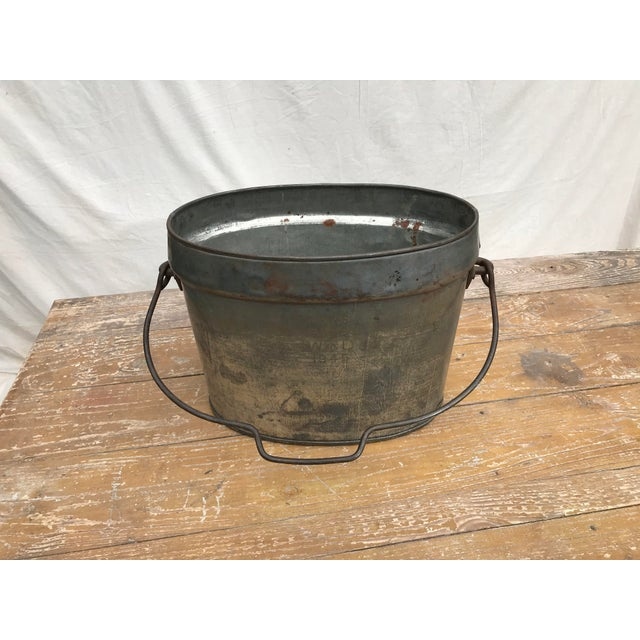 Gray Vintage Oval Tin Bucket With Iron Handle For Sale - Image 8 of 8