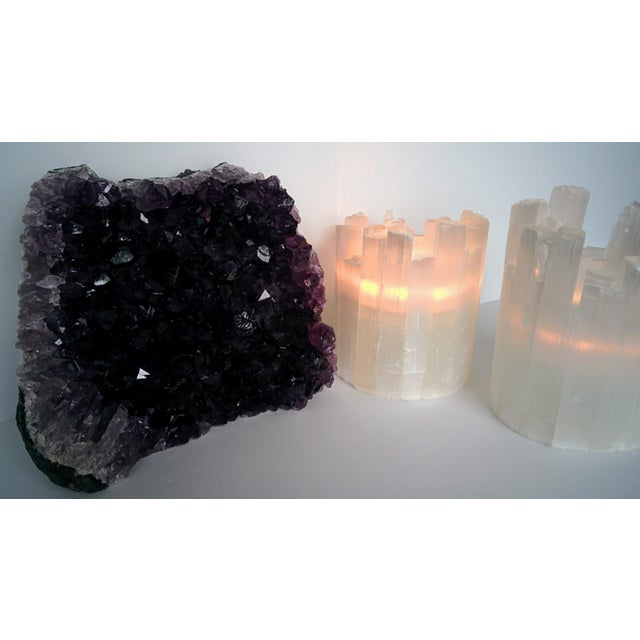 Pair of Selenite Moroccan Crystal Tealight Candle Holders - Image 7 of 9