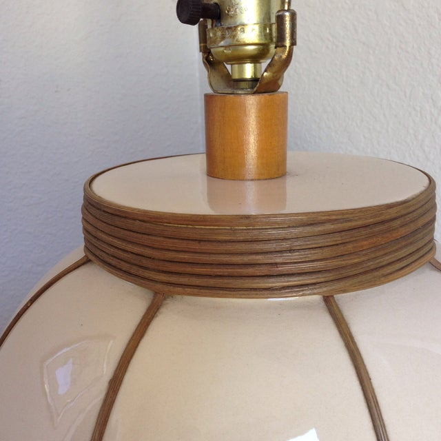 Mid-Century Bamboo Wrapped Porcelain Lamp - Image 3 of 5