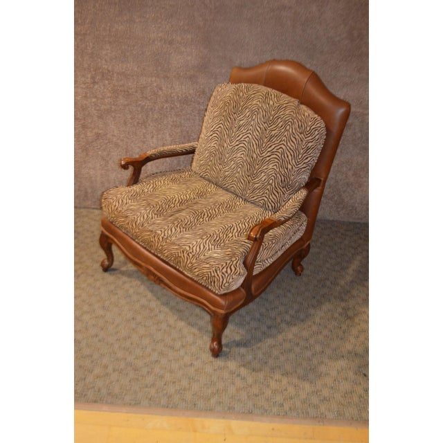 Brown Ethan Allen Multi Fabric Oversized Chair & Ottoman For Sale - Image 8 of 13