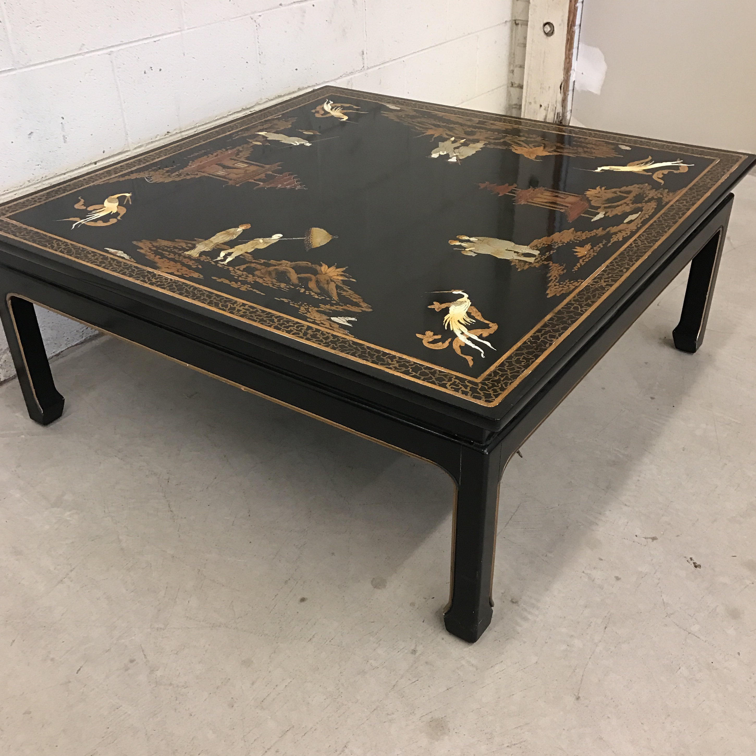 Vintage Asian Style Black Hand Painted Coffee Table For Sale   Image 4 Of 11