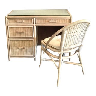 Vintage White Wicker and Rattan Desk and Chair - 2 Pieces For Sale