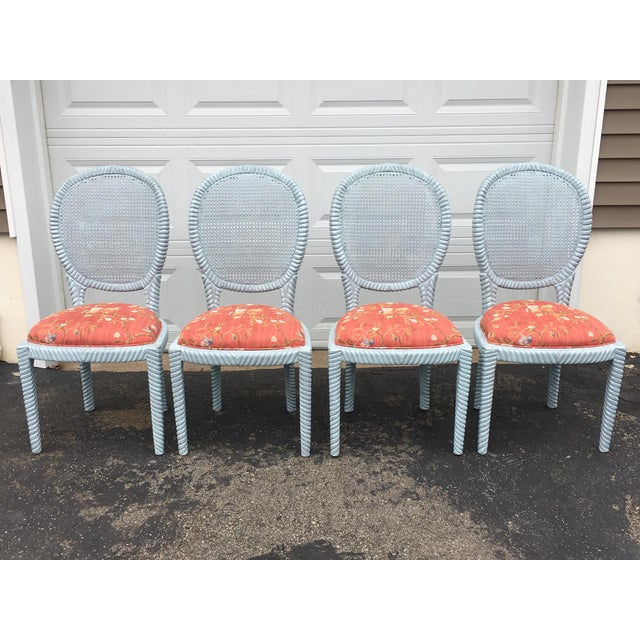 1970s Vintage Hollywood Regency Carved Rope Chairs - Set of 4 For Sale - Image 12 of 12
